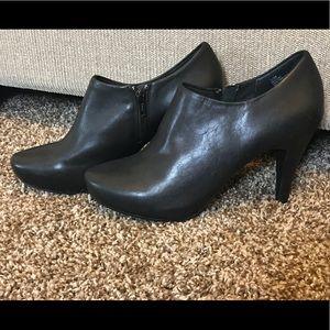 Black leather heeled booties